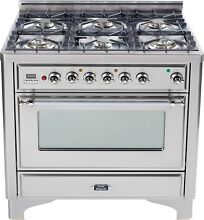 Ilve UM906DVGGIX Majestic Series 36  Pro Gas Range Oven 6 Burner Stainless Steel