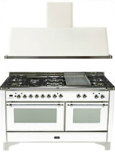 Ilve UM150FDMPBX Majestic 60  Pro Dual Fuel Gas Range Double Oven 2Pc Package