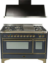 Ilve UM120FDMPMY Majestic 48  Pro Dual Fuel Gas Range Oven Hood Kitchen Package