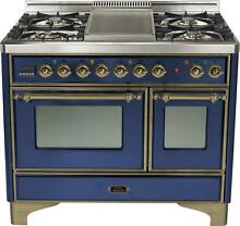 Ilve UMD100FDMPBLY 40  Majestic Pro Dual Fuel Gas Range Double Oven Griddle