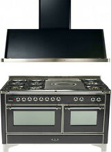 Ilve UM150SDMPMX Majestic 60  Dual Fuel Gas Range Oven French Top 2pc Package