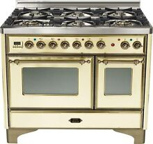 Ilve UMD1006DMPAY Majestic Pro 40  Dual Fuel Range Double Oven Antique White
