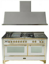 Ilve UM150FSDMPI 60  Dual Fuel Gas Range Oven Griddle French Top 2pc Package