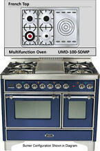 Ilve UMD100SDMPBLX Majestic 40  Pro Dual Fuel Gas Range Double Oven French Top