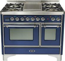 Ilve UMD100FDMPBLX 40  Majestic Dual Fuel Gas Range Double Oven Midnight Blue