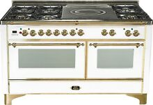 Ilve UM150SDMPB Majestic Series 60  Dual Fuel Gas Range Double Oven French Top