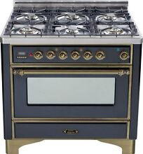 Ilve UM906DVGGMY Majestic Pro 36  All Gas Range Oven 6 Burner Warming Drawer