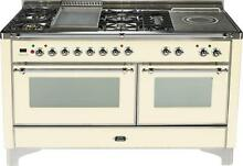 Ilve Majestic Series UM150FSDMPAX 60  Pro Dual Fuel Gas Range Oven Antique White