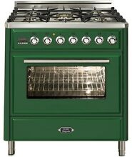 Ilve UMT76DMPVS Majestic Techno 30  Dual Fuel Range Single Oven Emerald Green