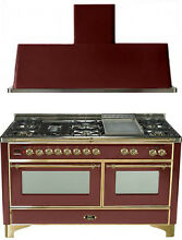 Ilve UM150FDMPRB Majestic 60  Pro Dual Fuel Gas Range Double Oven 2Pc Package