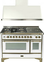 Ilve UM120SDMPBY 48  Dual Fuel Range French Top Double Oven Hood Kitchen Package