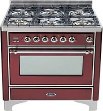 Ilve UM906DVGGRBX Majestic Pro 36  All Gas Range Oven 6 Burner Warming Drawer