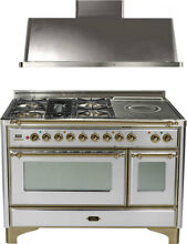 Ilve UM120SDMPIY 48  Dual Fuel Range French Top Double Oven Hood Kitchen Package