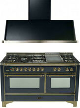 Ilve UM150FDMPMY Majestic 60  Pro Dual Fuel Gas Range Double Oven 2Pc Package
