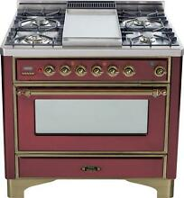 Ilve UM90FDVGGRBY Majestic Series 36  Pro Gas Range Oven 4 Burners With Griddle