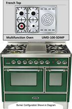 Ilve UMD100SDMPVSX Majestic 40  Pro Dual Fuel Gas Range Double Oven French Top