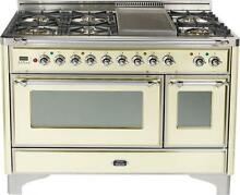 Ilve UM120FDMPAX Majestic Series 48  Dual Fuel Gas Range Oven Antique White