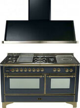 Ilve UM150FSDMPMY 60  Dual Fuel Gas Range Oven Griddle French Top 2pc Package