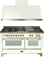 Ilve UM150FDMPB Majestic 60  Pro Dual Fuel Gas Range Double Oven 2Pc Package