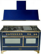 Ilve UM150FDMPBL Majestic 60  Pro Dual Fuel Gas Range Double Oven 2Pc Package