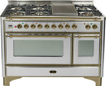 Ilve UM120FDMPIY Majestic Series 48  Dual Fuel Gas Range Double Oven Bronze Trim