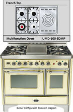 Ilve UMD100SDMPAX 40  Pro Majestic Dual Fuel Gas Range Double Oven French Top