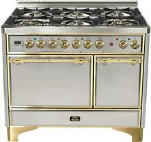 Ilve UMCD1006DMPI Majestic 40  Dual Fuel Double Oven Range Stainless Solid Door