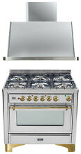 Ilve UM906DVGGI Majestic Pro 36  All Gas Range Oven Stainless Steel With Hood