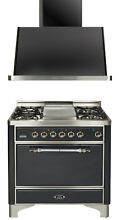 Ilve UMC90FDMPMX 36  Pro Dual Fuel Gas Range Single Oven Solid Door Hood 2pc Set