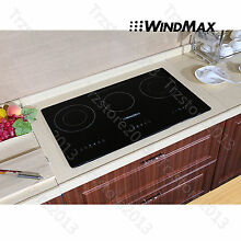 Windmax 29 5  Glass Plate Induction Hob 3 Burners Triple Stove Built in Cooktops