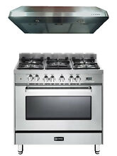 Verona VEFSGE365NSS 36  Pro Style Dual Fuel Gas Range Oven 2 pc Kitchen Package