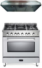 Verona VEFSGG365NW 36  Pro Style All Gas Single Oven Range 2 Pc Kitchen Package