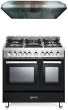 Verona VEFSGG365NDE 36  Pro Style Gas Range Double Oven 2Pc Kitchen Package
