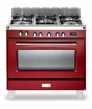 Verona Classic VCLFSGE365R 36  Pro Style Dual Fuel Gas Range Oven Gloss Red