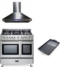 Verona 36  Pro Style All Gas Range Double Oven Stainless  Hood  Griddle 3 pc Set