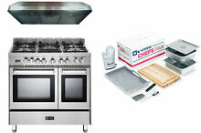 Verona VEFSGE365NDSS 36  Pro Style Dual Fuel Range Oven 3 Pc Kitchen Package