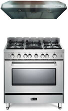 Verona VEFSGG365NSS 36  Pro Style Single Oven All Gas Range Stainess 2pc Package