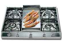 Ilve UHP965FD 36  Pro Style Gas Cooktop Griddle 4 Sealed Burners Stainless Steel