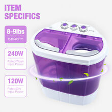 Mini 8 9lbs Portable Washing Machine Compact Washer Spin Dryer RV Dorm Laundry