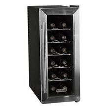 Koldfront TWR121SS 12 Bottle Stainless Steel Slim Fit Freestanding Wine Cooler