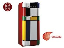REFRIGERATOR SINGLE DOOR 60CM HINGE RIGHT MULTICOLOR FAB28RDMC SMEG 50 YEARS