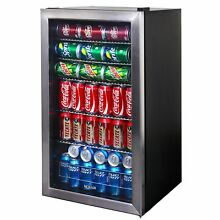 Stainless Steel 126 Can Compact Glass Door Mini Air Beverage Cooler Refrigerator