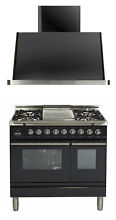 Ilve UPDW90FDMPM Pro Series 36  Dual Fuel Range Double Oven Griddle Hood Package