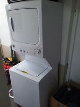 Residential GE Stackable Combo set Washer and Dryer  White  Electric  Used