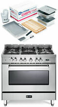 Verona VEFSGE365NSS 36  Pro Style Dual Fuel Gas Range Stainless Steel 2 Pc Set