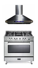 Verona VEFSGE365NSS 36  Pro Style Dual Fuel Gas Range Oven  Hood 2 pc Package