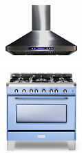 Verona VCLFSGG365BL 36  Pro Style All Gas Single Range Oven With Hood 2 pc Set