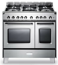 Verona Classic VCLFSGG365DSS 36  Pro Style All Gas Range Double Oven Stainless