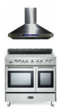 Verona VEFSEE365DSS 36  Electric Double Oven Range Stainless  Hood 2pc Package