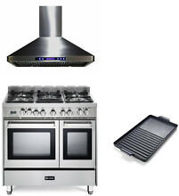 Verona 36  Pro Style Dual Fuel Range Double Oven Stainless Steel W  Hood Griddle